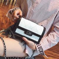 菱格链条包包女2018新款潮韩版撞色锁扣小方包百搭单肩斜挎包小包