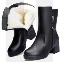 冬季女靴新品短靴妈妈棉鞋加厚防滑加绒保暖羊毛棉靴高跟粗跟拉链SN1658 黑色 5809 37 羊毛厚拍大一码