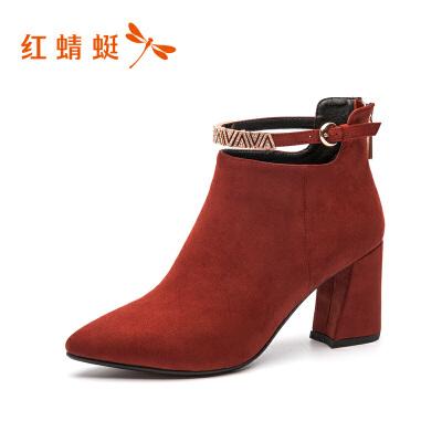 【领劵下单立减120】红蜻蜓新款秋冬韩版高跟靴女韩版真皮短靴女靴马丁靴秋靴