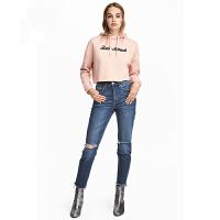 女装2018年春季新款宽松加绒打底衫短款街头风连帽卫衣 粉红色