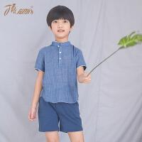 顶瓜瓜睡衣儿童棉质男童夏短袖立领衬衫撞色薄款家居服可外穿2018夏季新款