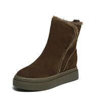 2018冬季新款厚底松糕跟马丁靴女靴子舒适短筒加绒加厚保暖学生鞋