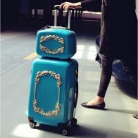 复古拉杆箱子母行李箱女24寸韩版小清新20密码旅行箱登机箱万向轮 蓝色如图 12寸化妆箱