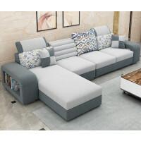 布艺沙发茶几组合简约小户型可拆洗L型客厅整装现代小沙发 电视柜