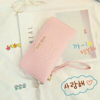 女士钱包女长款简约日韩学生复古拉链零钱位潮手包手拿包 粉红色