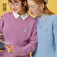 【2件3折 叠券预估价:63.1元】初语2020秋装新款学院风紫色毛衣女宽松外穿圆领套头复古针织衫