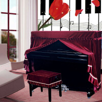 ?意大利加厚丝绒钢琴罩全罩布艺琴套防尘凳罩欧式简约现代