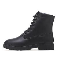2018年秋季新款男士马丁靴系带短靴子男靴英伦皮靴百搭高帮男鞋子