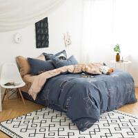 家纺四件套全棉棉简约1.5m1.8m床单双人被套2.0mx2.2米床上用品 墨绿色 蓝森物语