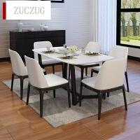 ZUCZUG大理石餐桌椅组合家具6人现代简约小户型实木餐台饭桌子4人长方形