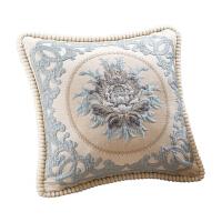 欧式沙发抱枕套不含芯刺绣靠垫套单双面靠枕布艺靠背 +芯