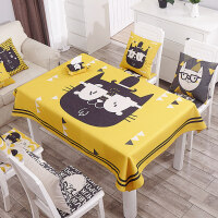 加厚桌布布艺棉麻圆桌桌布防烫茶几长方形桌布卡通餐厅台布可