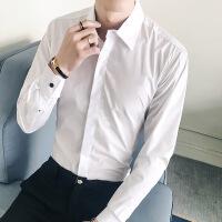 男装新款时尚男士修身休闲长袖衬衫韩版纯色衬衣男款衫衣51