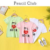 【2件4折:43.6】铅笔俱乐部童装2020夏装新款女童短袖中大童休闲T恤儿童上衣潮
