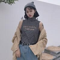 春季新款韩版高领打底背心+复古长袖灯芯绒衬衣外套女两件套衬衫