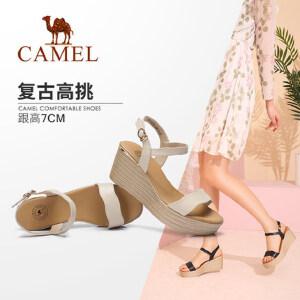 骆驼女鞋 2018夏季新款 复古真皮时尚休闲韩版百搭防水台坡跟凉鞋