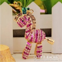 韩国木马水钻汽车钥匙扣韩国女斑马包包挂件创意情侣钥匙链圈
