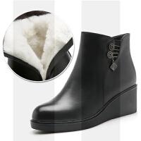 妈妈棉鞋女冬季保暖加绒坡跟皮鞋中老年羊毛短靴子老人棉鞋女防滑SN7472 黑色(羊毛内里)
