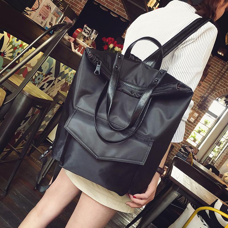 韩版牛津布休闲双肩包黑色大容量书包学院旅行两用背包潮 黑色