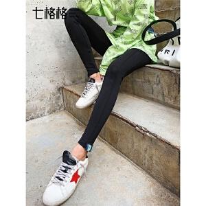 七格格黑色打底裤女外穿春季装2019新款韩版显瘦九分紧身小脚裤子