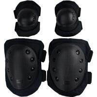 2018四件套战术护具套装户外真人CS装备防护护膝护肘男野战特种兵训练 黑色加厚版