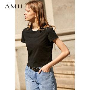 【1件5折到手价76.5】Amii极简洋气时尚心机T恤女2019夏季新圆领短袖棉质绑带镂空上衣