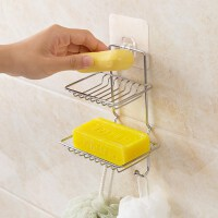 不锈钢双层沥水肥皂架 浴室肥皂盒免打孔皂托香皂架香皂盒置物架