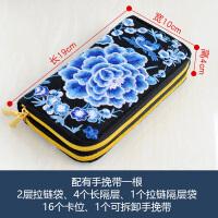 2018新款刺绣花民族风长款钱包卡包手机包双层女士手挽手提手拿包