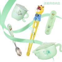 注水保温碗婴幼儿童餐具宝宝304不锈钢吸盘辅食碗勺套装