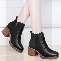 马丁靴女2018新款鞋子女冬英伦厚底高跟皮鞋中跟百搭粗跟短靴女鞋SN8473