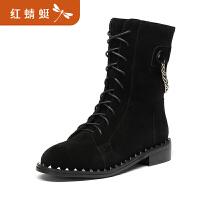 【红蜻蜓领�涣⒓�150】金粉世家 红蜻蜓旗下 冬季新款真皮中筒靴女靴圆头马丁靴