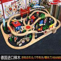 轨道车电动和谐号小火车套装木制益智积木质拼装玩具男孩2岁6儿童