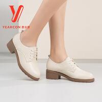 意尔康2017秋季新款圆头粗跟深口真皮单鞋韩版系带中低跟休闲女鞋