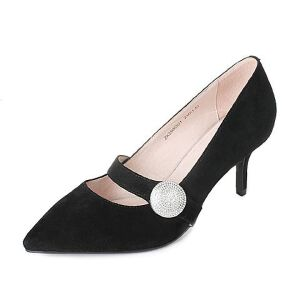 Tata/他她2017秋羊绒皮水钻一字带尖头鞋细高跟女皮鞋ZK298CQ7