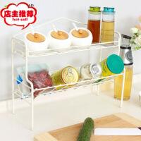 厨房置物架2层厨房用品收纳架调料架子调味架落地储物架 白色