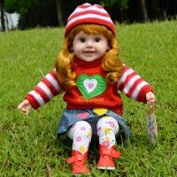 儿童会说话的娃娃智能娃娃唱歌洋娃娃仿真软硅胶布娃娃男女孩玩具 196-7红色 对话朵朵