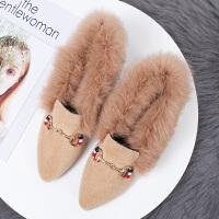 内增高毛毛鞋女冬外穿加绒豆豆鞋2018新款韩版百搭坡跟棉瓢鞋 TBP