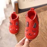 卡通女童加绒鞋冬季新款靴子雪地靴童趣宝宝小棉鞋儿童短靴公主鞋