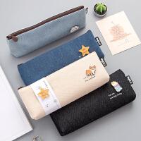 韩版简约大容量小学生笔袋女ins可爱帆布铅笔袋初中高中生文具盒