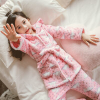 女童珊瑚绒睡衣加厚款套装中大童小女孩绑带儿童法兰绒家居服秋冬