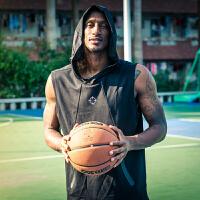 准者新品篮球运动马甲男款 休闲宽松连帽卫衣无袖背心