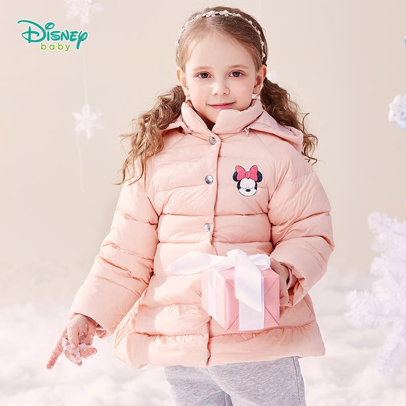 【2件3折到手价:200】迪士尼Disney童装 女童中长款羽绒服冬季新品女宝A字版型外套米妮卡通印花上衣194S1152 填充90%白鸭绒,从上至下的温暖包裹
