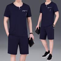 中年大码男士运动套装夏季短袖短裤商务休闲套装男薄中老年爸爸装 L 男