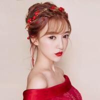 新娘发带头饰红色花朵头花结婚首饰品敬酒服礼服发饰婚纱配饰 红色
