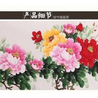 国画牡丹画手绘花开富贵花客厅卧室横幅装饰装裱