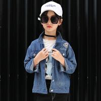 女童牛仔外套秋装韩版后背绣花仙鹤牛仔上衣6-14岁小学生开衫