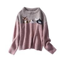 毛衣女2018秋冬新款长袖套头清新可爱猫咪韩版针织打底衫