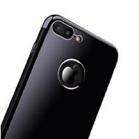【包邮】iPhone7硅胶套苹果7plus手机壳潮奢华亮黑色男女iPhone7软胶简约硅胶i7p硅胶软壳亮黑壳ipho