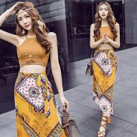 沙滩裙女夏新款泰国海边度假夏天两件套连衣裙子波西米亚长裙