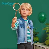 巴拉巴拉旗下MarColor马卡乐2019春新品男童纯棉字母印花长袖T恤